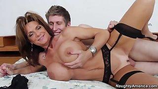 Large tit MILF Deauxma in black stockings fucking