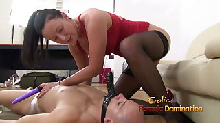 Defeated Slaveboy back chastity device is light fucked by Lara