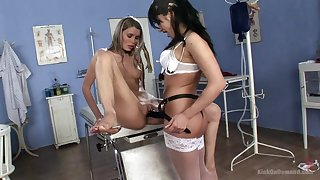 Lesbians use the strap-on during a non-standard doctor visit