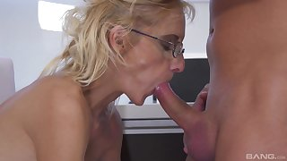 Mature likes here soak the nephew's dick in her closely guarded pussy
