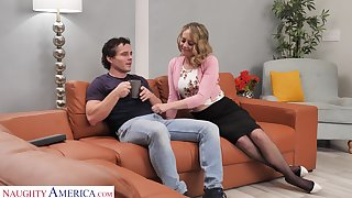 Sexy housewife Elle McRae takes the lead coupled with seduce man for random charge from