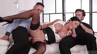 Jasmine Jae is a smoking hot subfuscous milf, who likes to get spit- roasted on the sofa