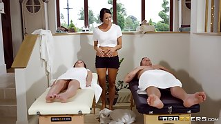 MILF gets busy with the guy's dick measurement inviting his wife to join the fun