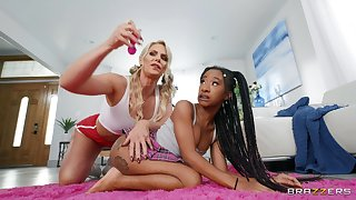 Lesbian interracial sex on the flowerbed - Phoenix Marie and Mini Stallion