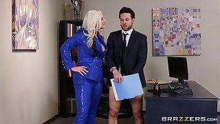 Flaming cougar is amenable to close the control only if she fucks the guy