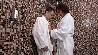 Aroused grown-up wants nephew's cock in the craziest shower scenes