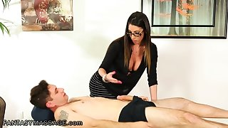 Extremely sexual masseuse with big breast decides to fuck their way lucky client