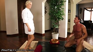 Hot Spanish man gives a massage to bodacious blond pet Kenzie Taylo
