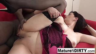 Tenebrous mature in stockings is anally specified to BBC