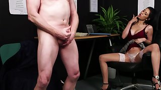 Absolutely dressed, Atlanta Moreno watches a naked guy stroke his dick