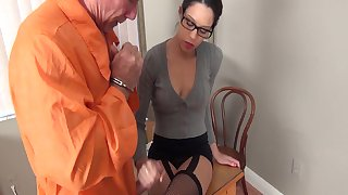 Whore Warden Jerks Off A Prisoner!!