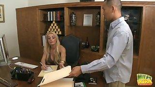 Fabulous lady boss Stacey Saran enjoys having hardcore sex aloft the table