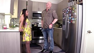 Hardcore fucking up the kitchen with scalding get hitched Krystal Davis