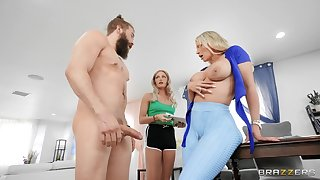 Busty blonde chick Rachael Cavalli gives head and gets fucked