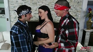 Two Mexican dudes team nigh to fuck busty American chick Sophie Dee