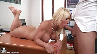 Stacked office assistant Tiffany Rousso gives her brass hats a great blowjob