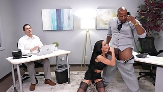 Interracial fucking in the office with Gianna Grey added to her boss