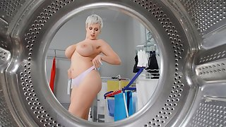 Dazzling mature with successfully tits, stimulated bathroom sex