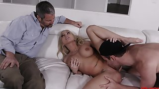 Dashing blonde wife endures incredible pleasure in cuckold
